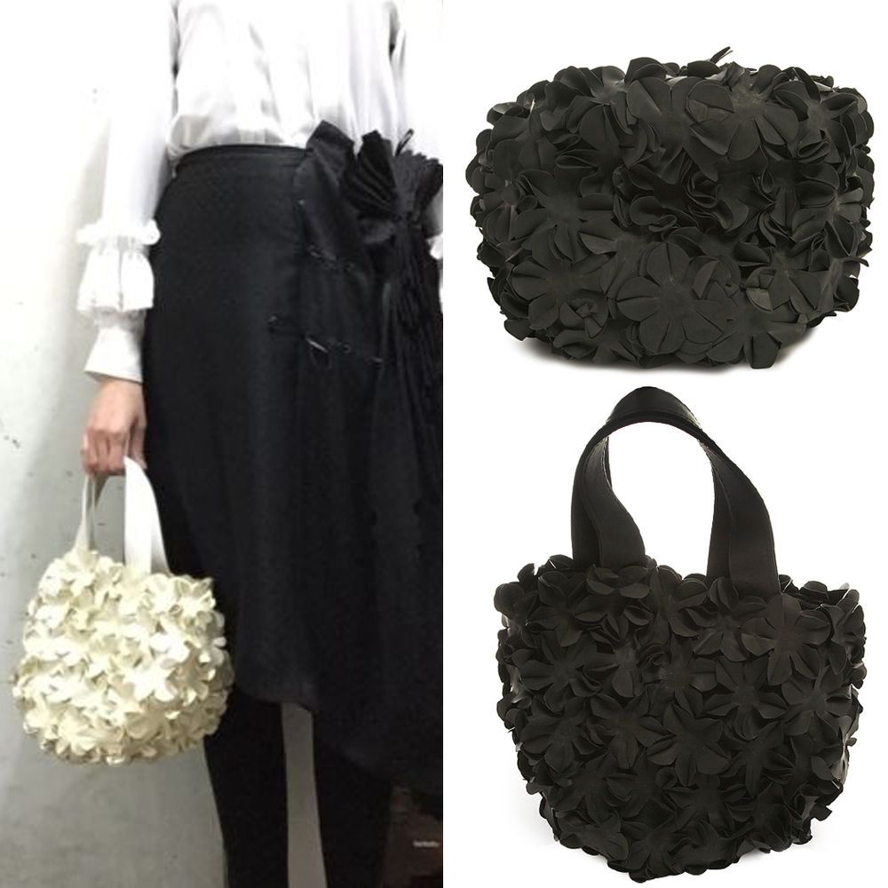 COMME DES GARCONS black 3D floral applique rubber bucket bag handbag purse   eBay
