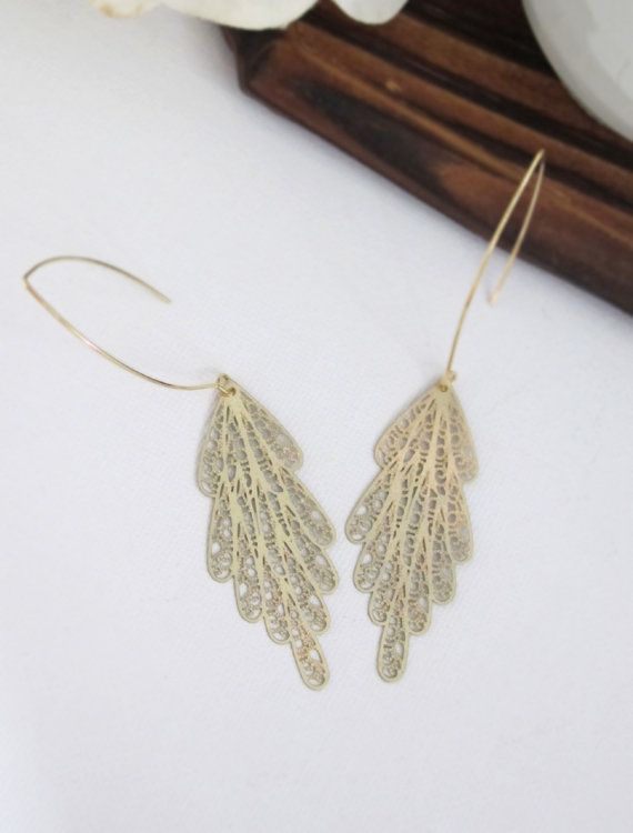 Gold Peacock Feather Earrings. Matte Gold Filigree Long Dangle Light Weight Earrings. Wedding Bridesmaid Ear Jewelry