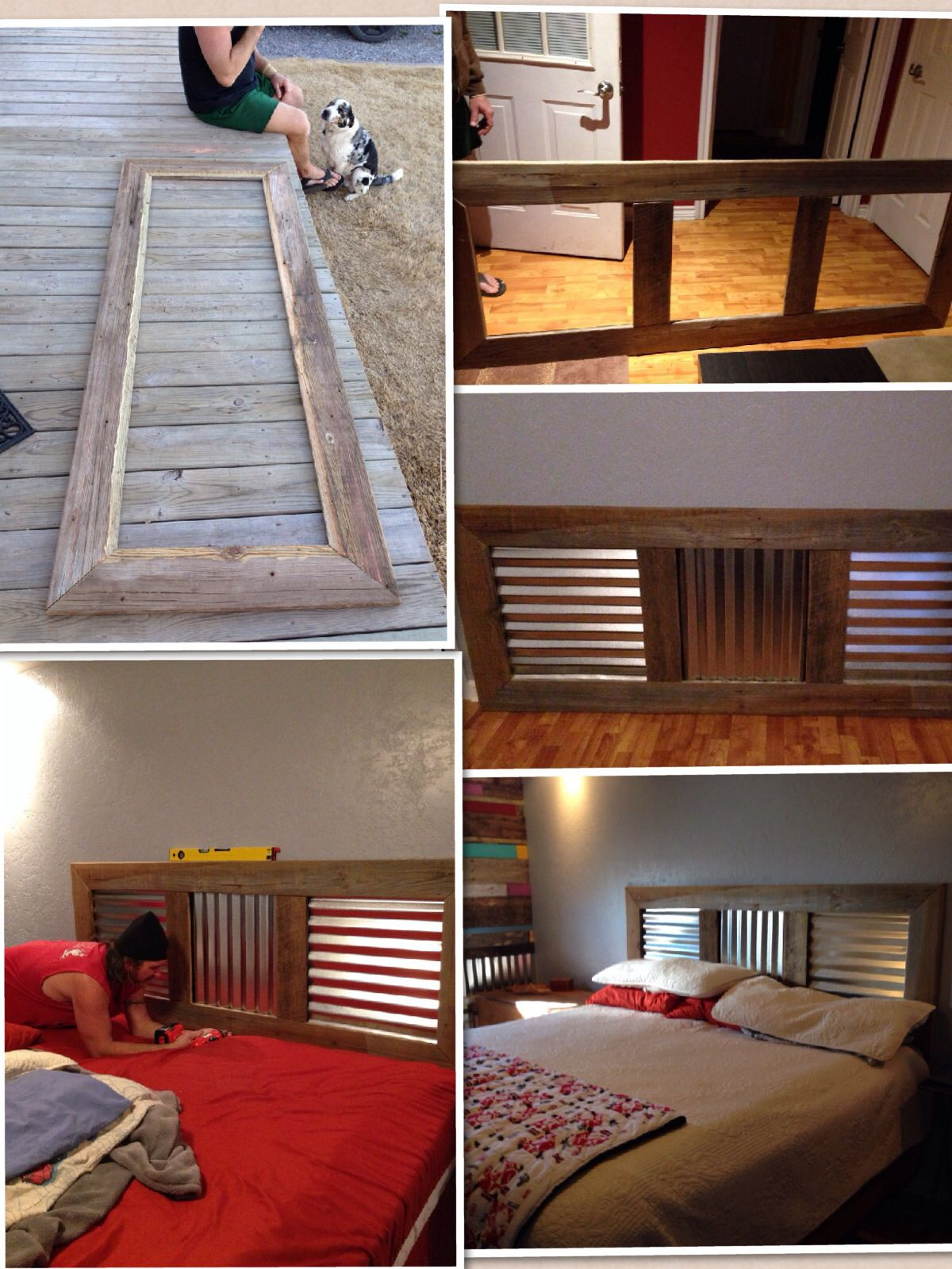 King size headboard from recycled wood and corrugated tin | For ...