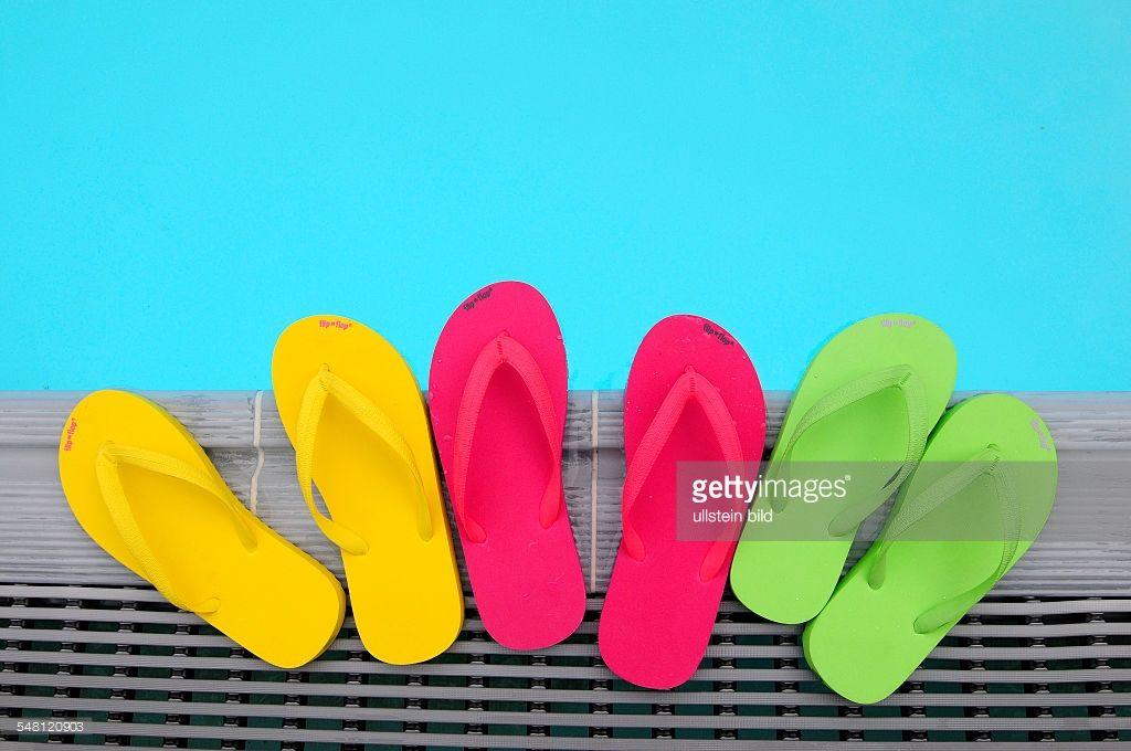 flip flops at a swimming pool
