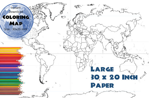World map 30x20 inches coloring map black white map world map 30x20 inches coloring map black white map countries outline gumiabroncs Image collections