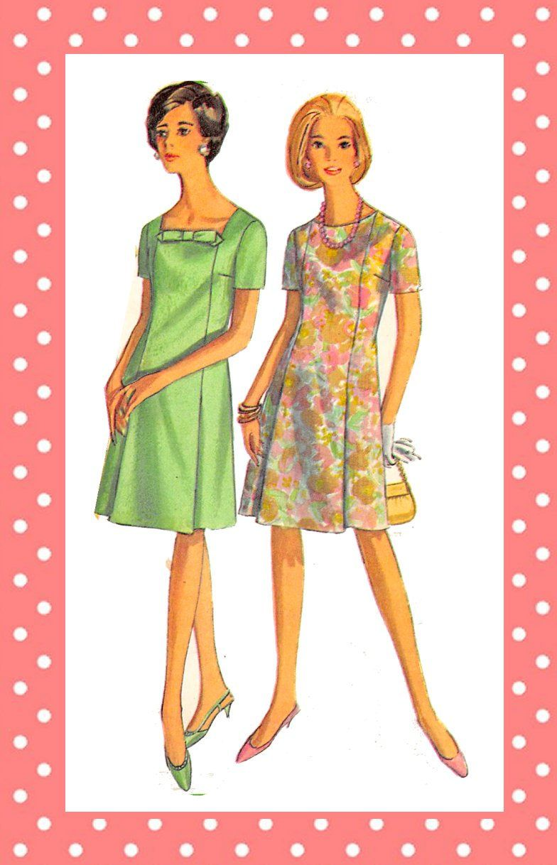 Vintage 1967 A Line Dress Sewing Pattern Three Styles Day Dress