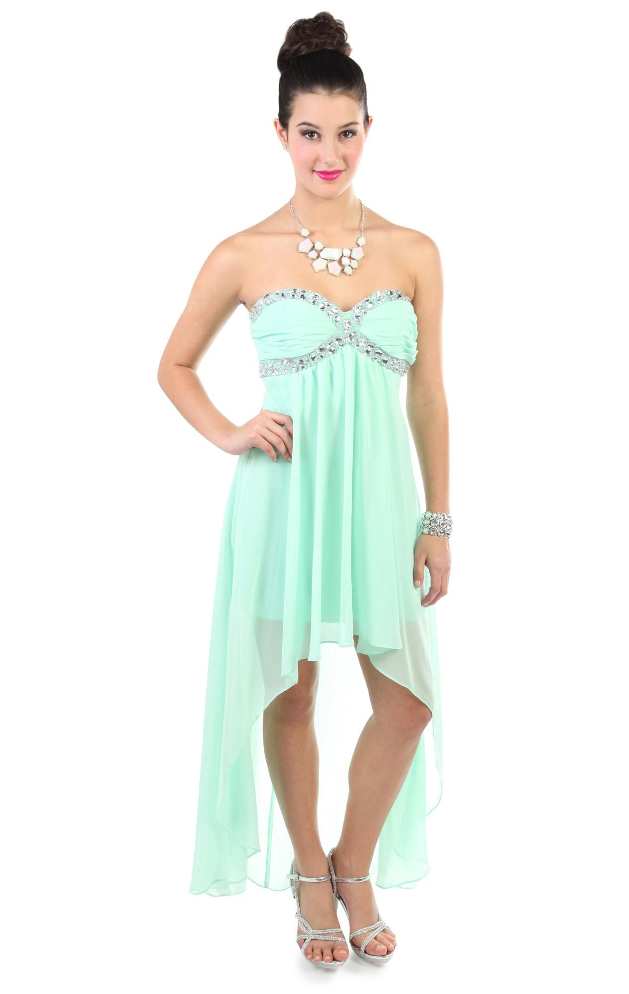 Deb shops mint beaded chiffon high low prom dress with jewel