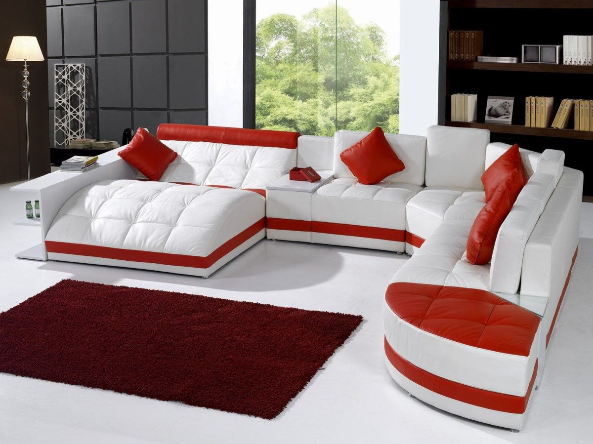 Swell 5012 Modern White And Red Leather Sectional Sofa Future Caraccident5 Cool Chair Designs And Ideas Caraccident5Info