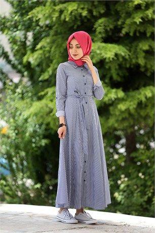 6d732d4ab662e Düğmeli Boydan Elbise - Belizz - 7272 - Lacivert | Clothes | Elbise ...