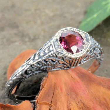 Vintage Style Sterling Silver Filigree 4.5mm Round Shaped Ring Setting
