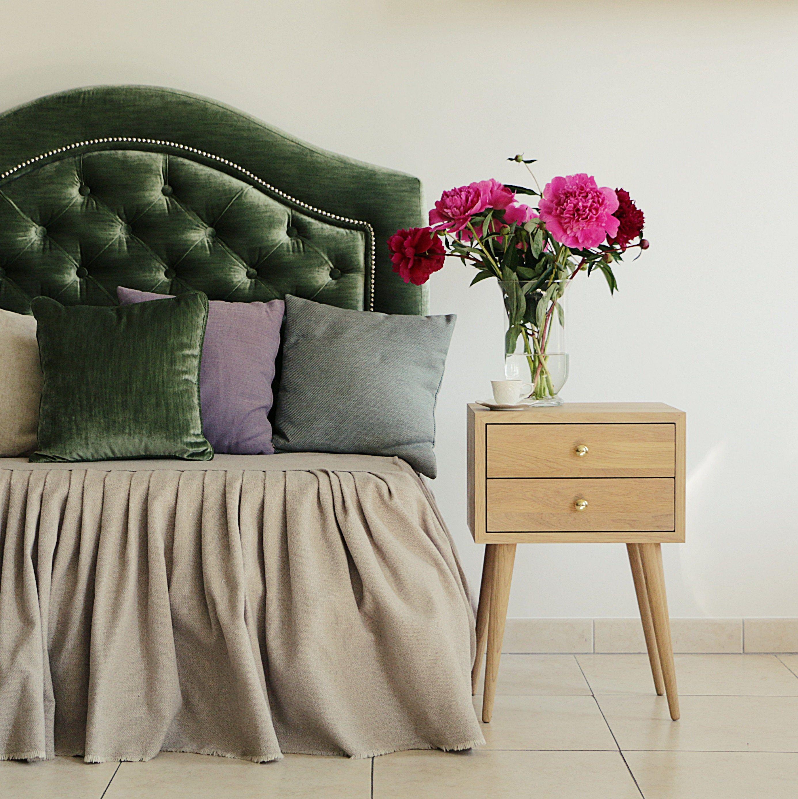 Oak white oiled nightstand Mid Century Modern bedside
