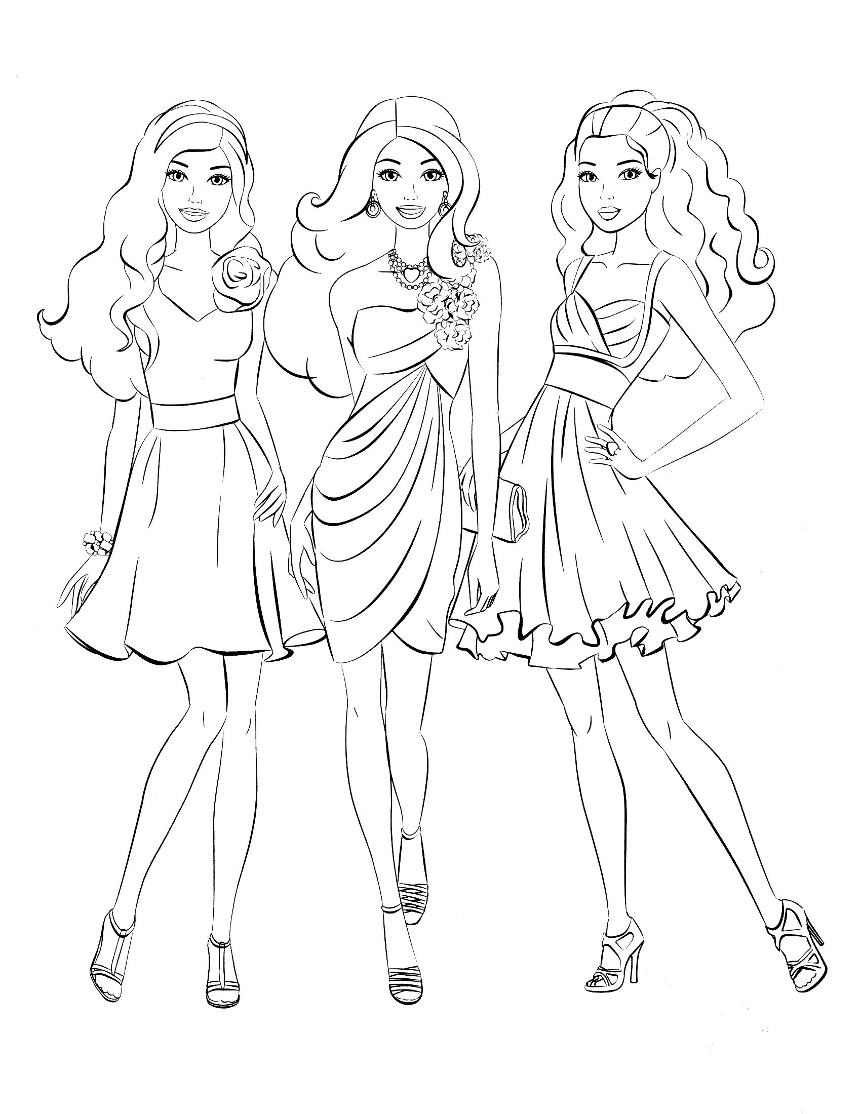 Elegant Barbie Coloring Pages Free Large Images Manahil Barbie