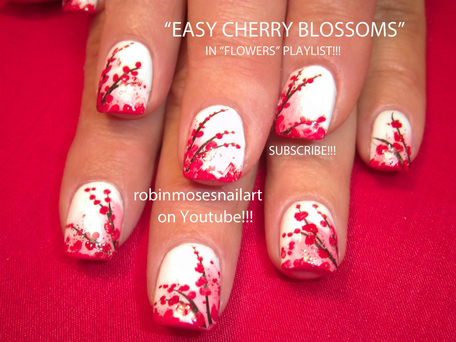 Nail-art by Robin Moses: Red Cherry Blossoms on White Nail art, Cherry Blossom nail art -LOVE IT!!