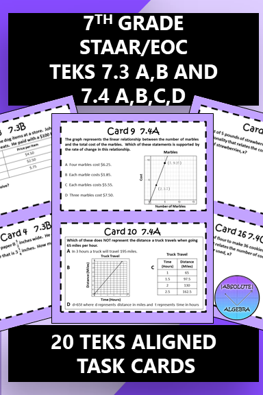 7th Grade STAAR EOC TEKS Aligned Task Cards 7.3 A,B and 7 ...