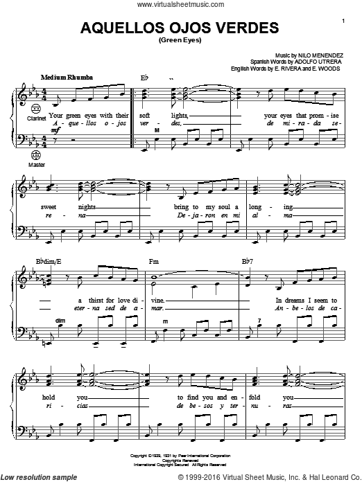 Download And Print Aquellos Ojos Verdes Green Eyes Sheet Music For