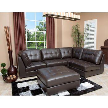 calvin 5 piece top grain leather modular sectional home decor