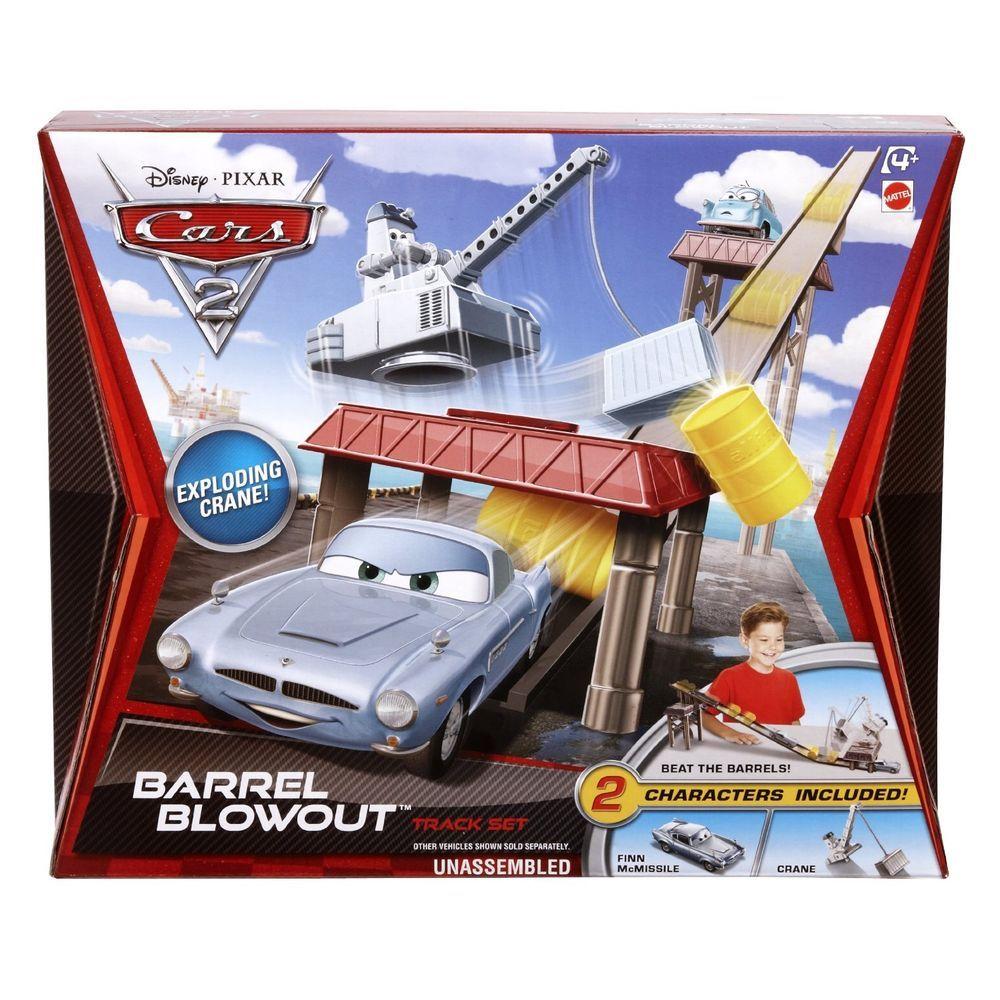 Nib disney pixar cars 2 barrel blowout track set with finn mcmissile crane