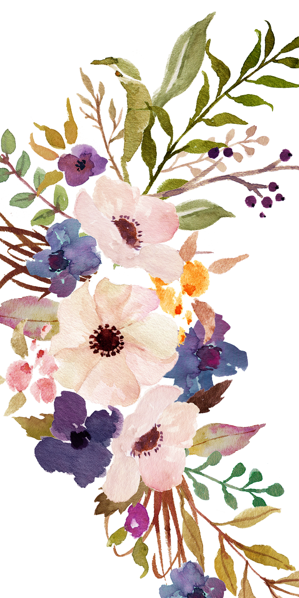 Iphone Floral Drawing Wallpaper