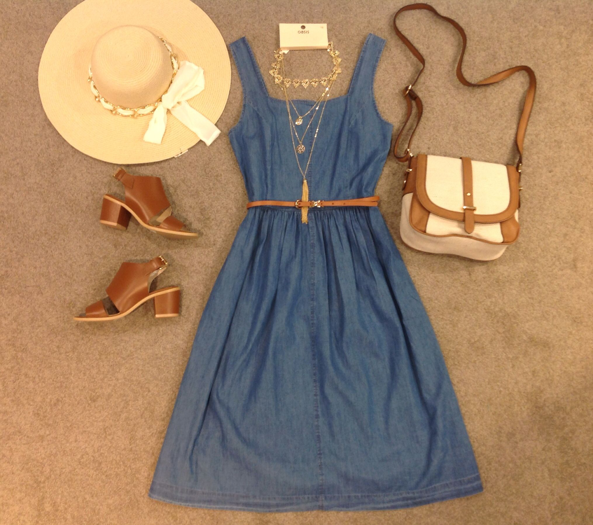 Perfect Wednesday outfit our Jasmine denim dress with Ibiza sandals #mypersonalstylist