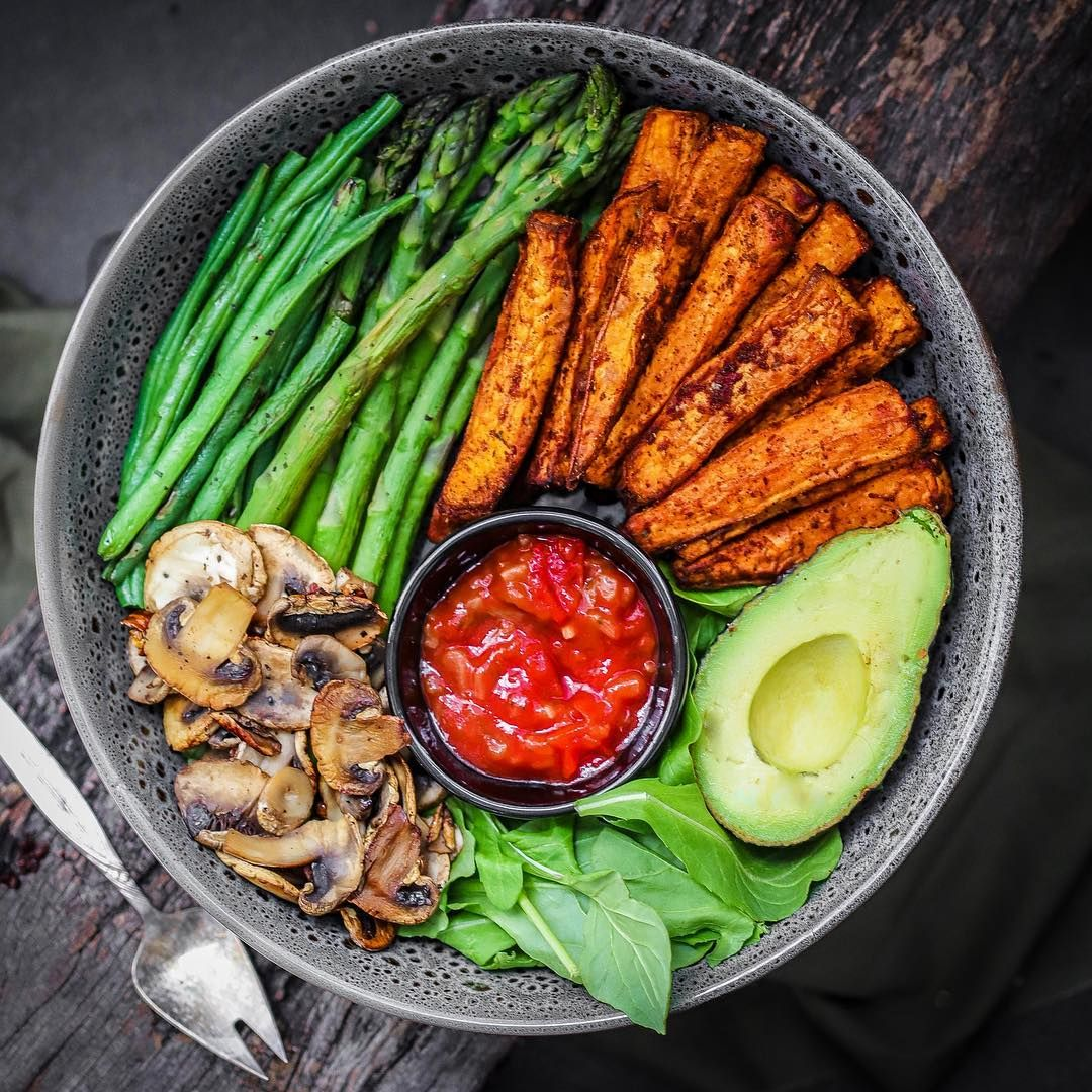 Jo Sydney Australia On Instagram Spiced No Oil Sweet Potato Fries Avocado Grilled Aspar Vegan Recipes Healthy Veggie Bowl Vegan Lunch Recipes