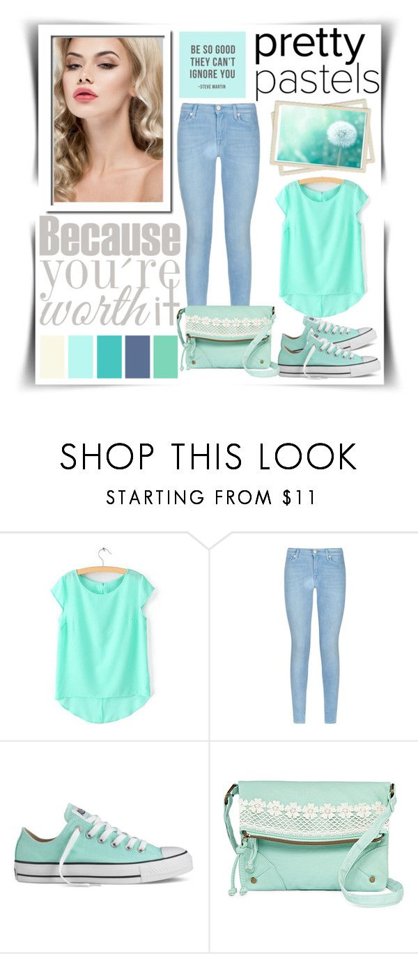 """""""Bez naslova #116"""" by aa-fashion-girls ❤ liked on Polyvore featuring 7 For All Mankind, Converse, T-shirt & Jeans, women's clothing, women's fashion, women, female, woman, misses and juniors"""