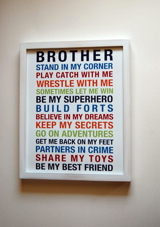 Brothers Wall Art Printable Boys Room Decor Print Big Brother Gift