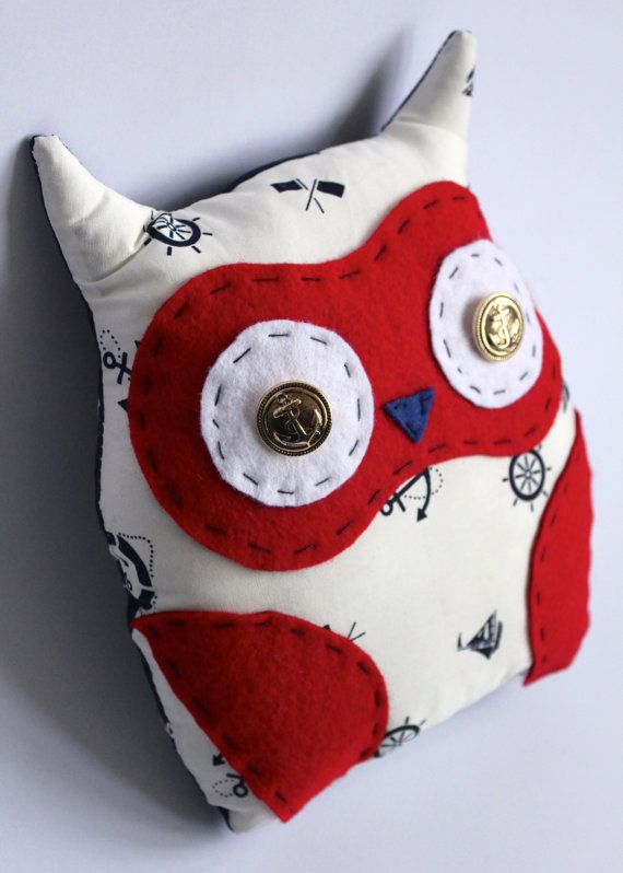 Nautical Owl Pillow White Red and Blue Colors by MadeintheWoods, £14.00