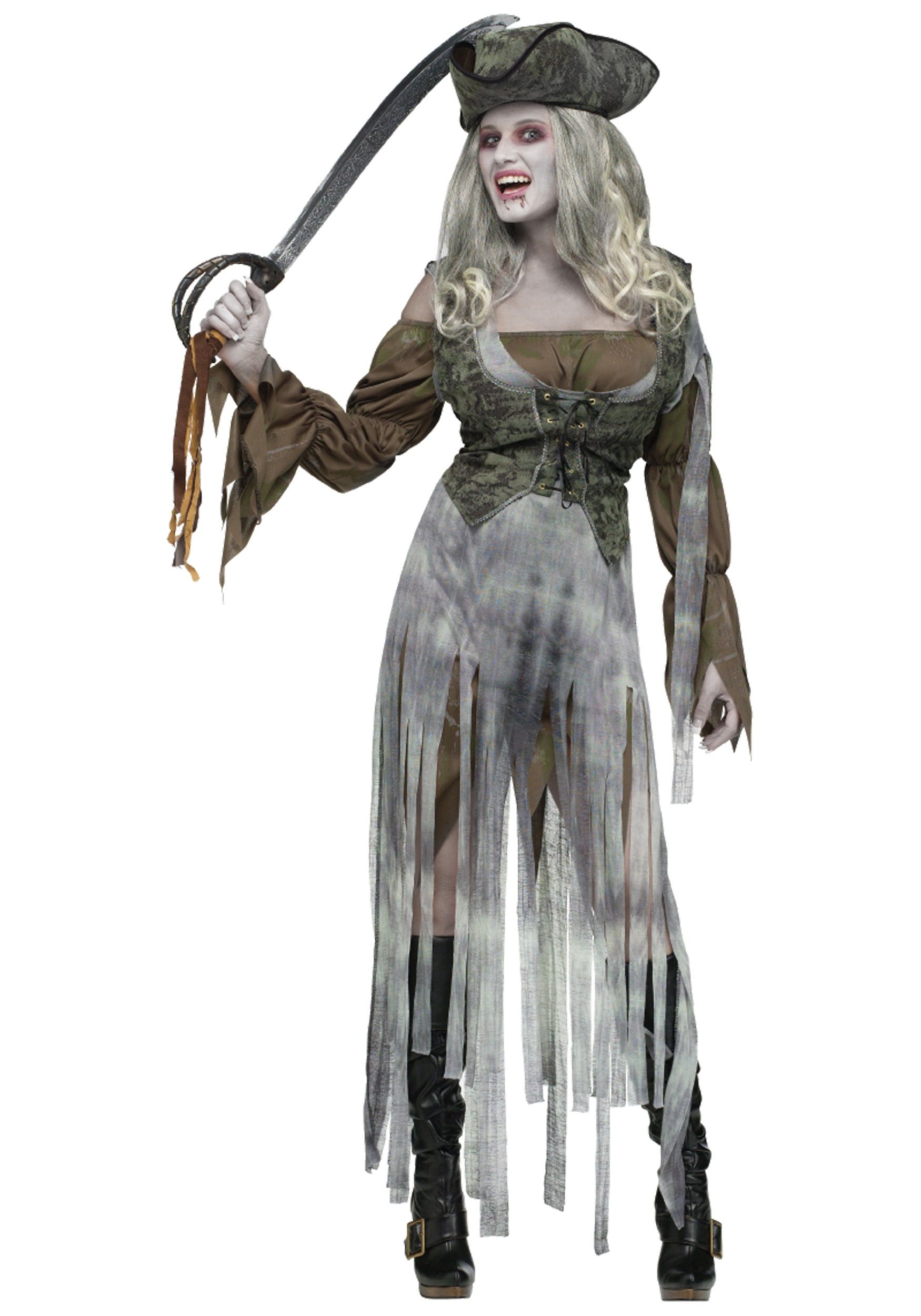 Ladies Pirate Fancy Dress Costume Outfit Caribbean Wench Adults Halloween Zombie
