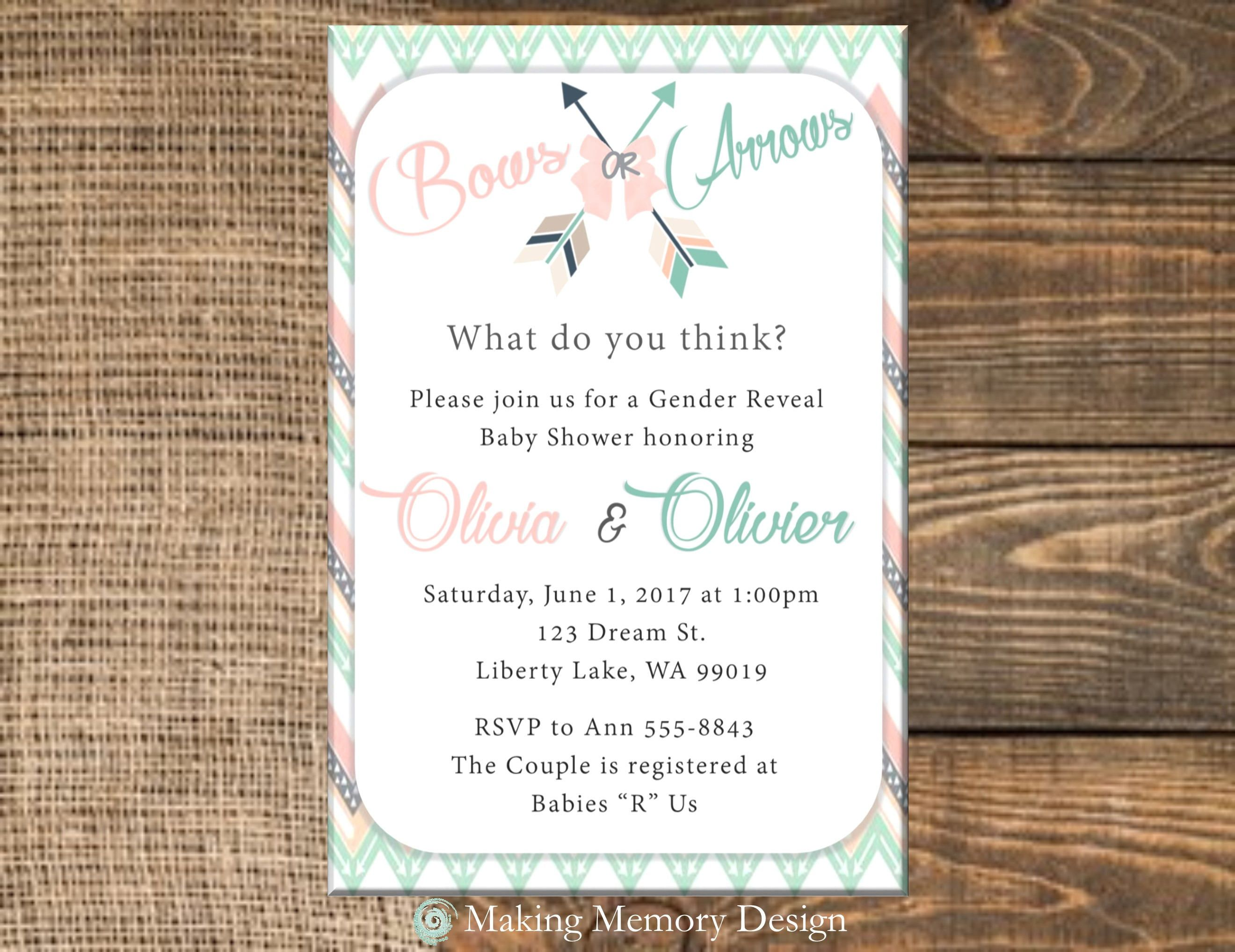 Bows or Arrows Gender Reveal Baby Shower Invitation by