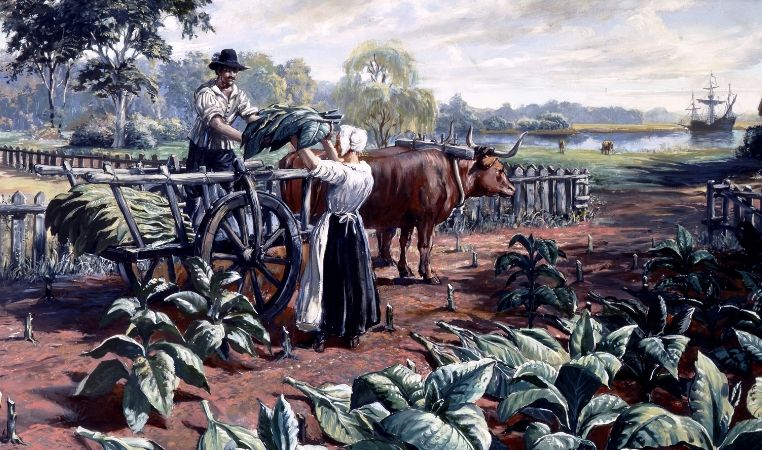 painting of jamestown virginia tobacco production at
