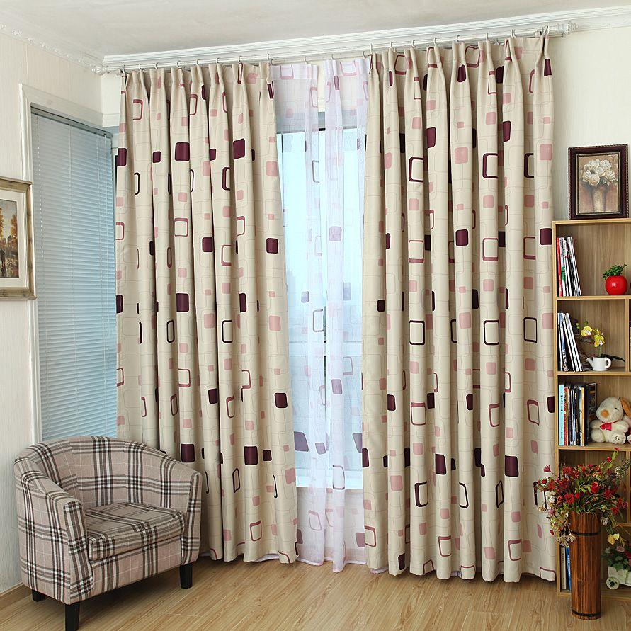 beige plaid print polyester modern bedroom kids curtains on sale