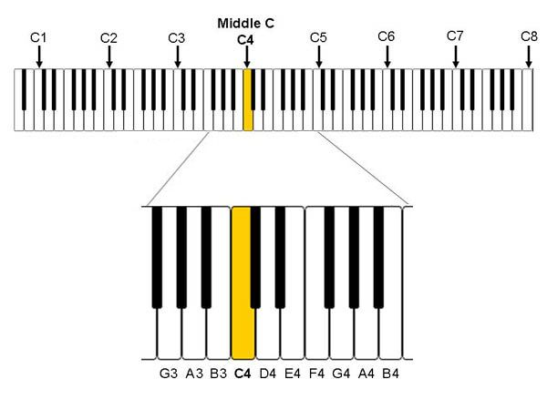 diagrams showing naming scheme of notes on a piano or full size - piano notes chart