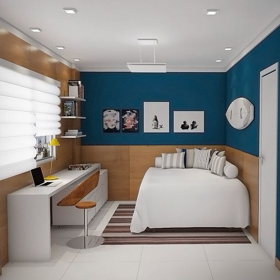 Habitaciones azules para j venes dormitorios pintados de - Habitaciones de color azul ...