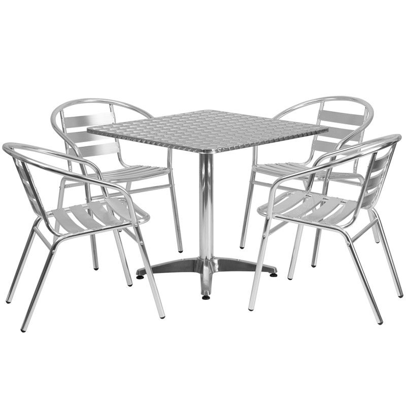 31.5u0027u0027 Square Aluminum Indoor Outdoor Table With 4 Slat Back Chairs 31.5