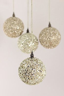 4 champagne glitter christmas ornament balls 4in