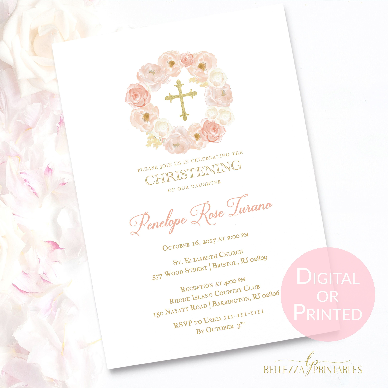 peach floral baptism invitation with gold cross elegant baptism