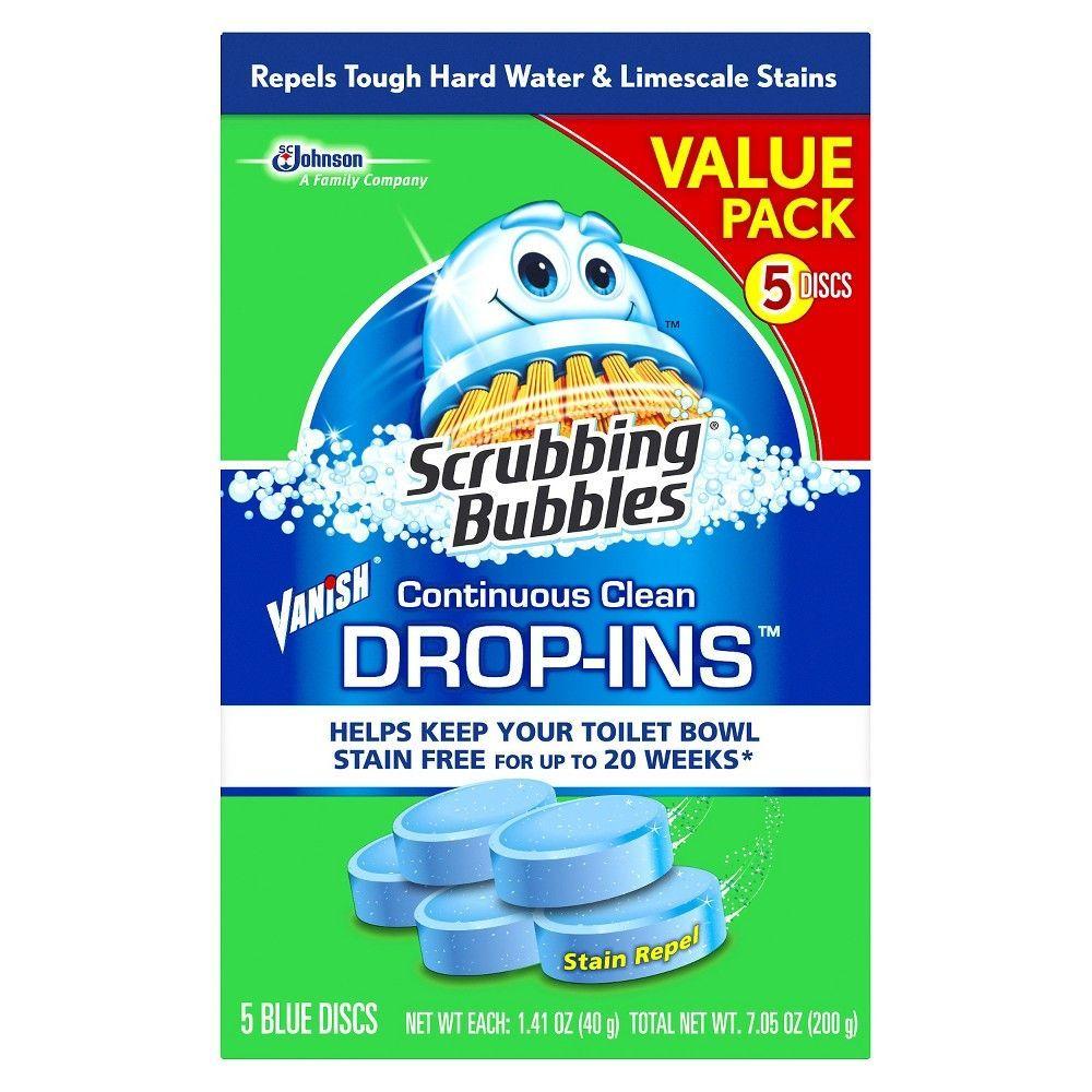 Scrubbing Bubbles Continuous Clean Drop Ins Blue Discs 5ct 7 05oz Toilet Cleaner Bubbles Toilet Cleaning