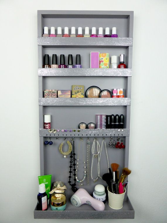 Greysilverglitter makeup jewelry organizer display nail