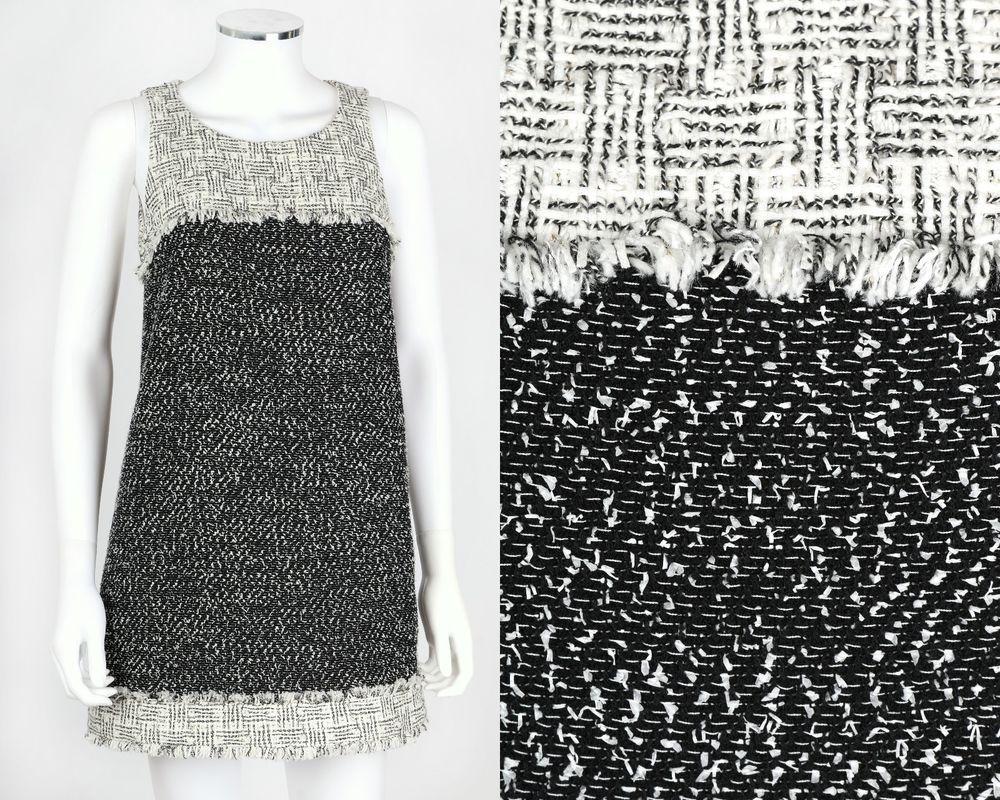 NWT CHANEL BLACK WHITE TWEED FRINGE SLEEVELESS SHIFT MINI DRESS SZ 36 14P #Chanel #Shift