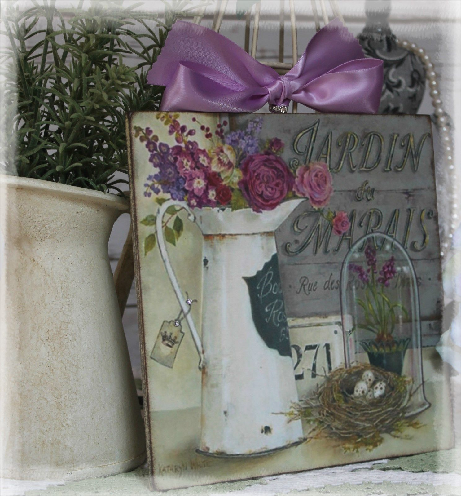 "JARDIN "" Vintage Shabby Country Cottage Chic style Wall Decor"