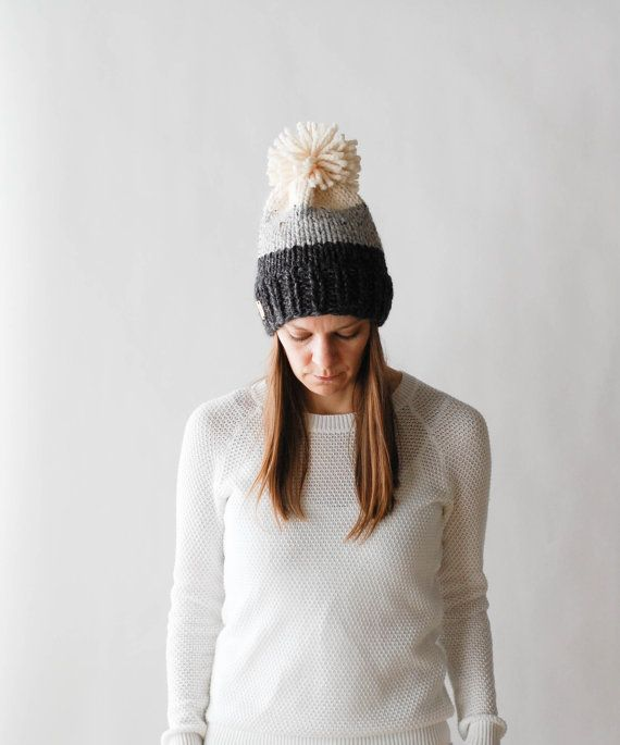 Ombré Knit Slouchy Hat With Pom Pom / THE BRECK / Fisherman Grey ...