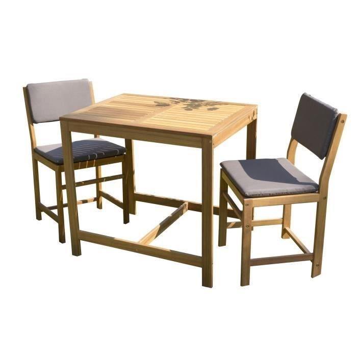 table 80x60 cm et 2 chaises