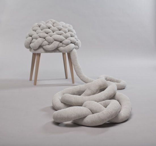 """""""Cloud Stool is inspired by the flexibility and softness of the cloudscape. It can be singular or become a group as a human being. It gives the illusion that it's alive, by using irregularity, flexibility and subtle differences in tone of perception. Conclusively, the form interacts between objects, and people could explore with it. """""""