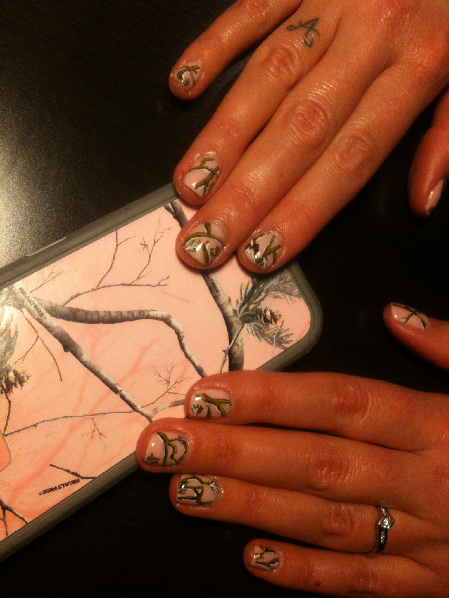real tree camo nail art gel polish