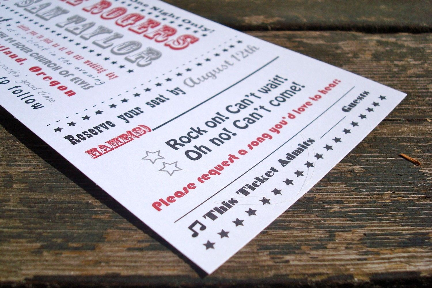Concert Ticket Wedding Invitation   Sample Pack   Free Shipping   Rock And  Roll Invitation  How To Make A Concert Ticket