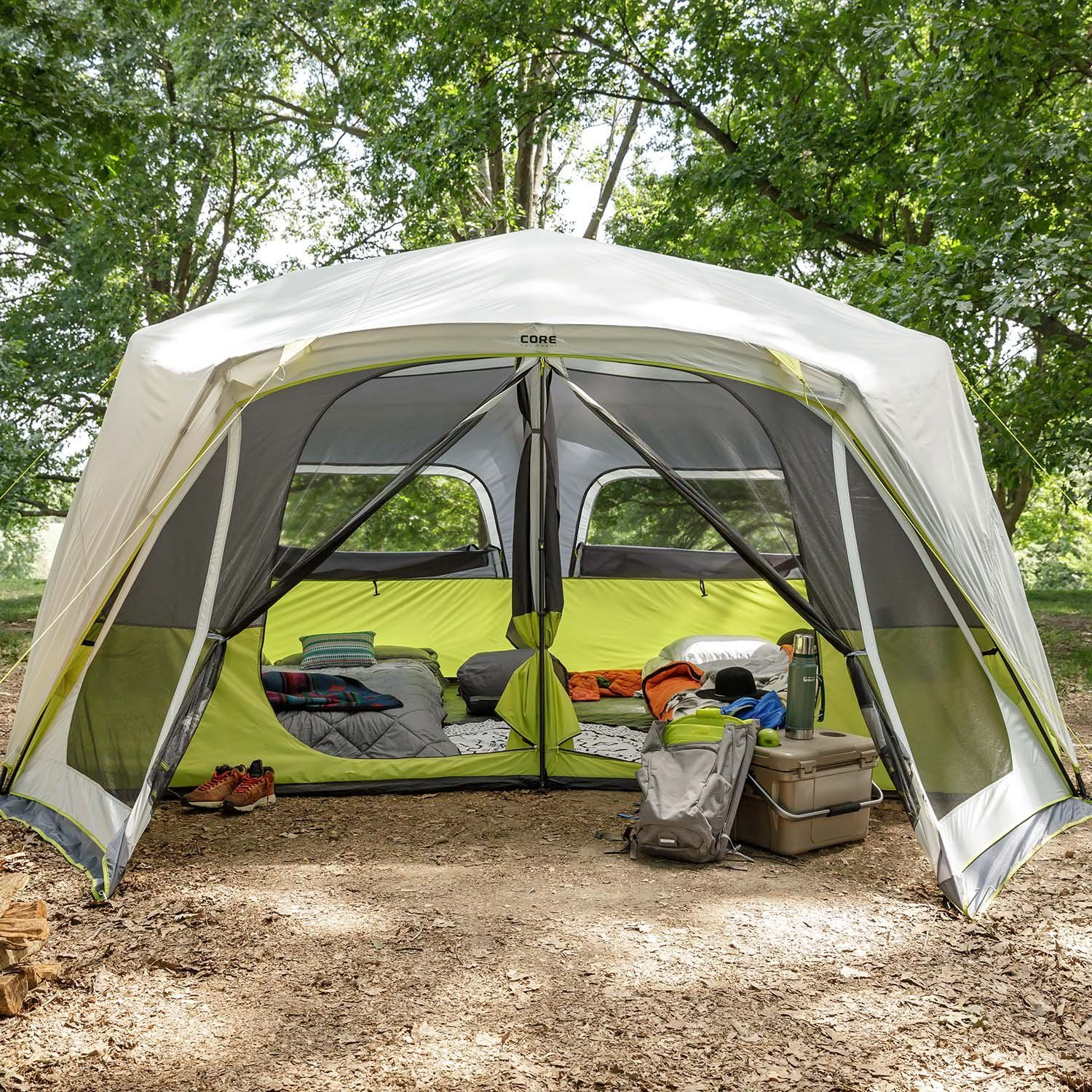 10 Person Instant Cabin Tent With Screen Room Camping