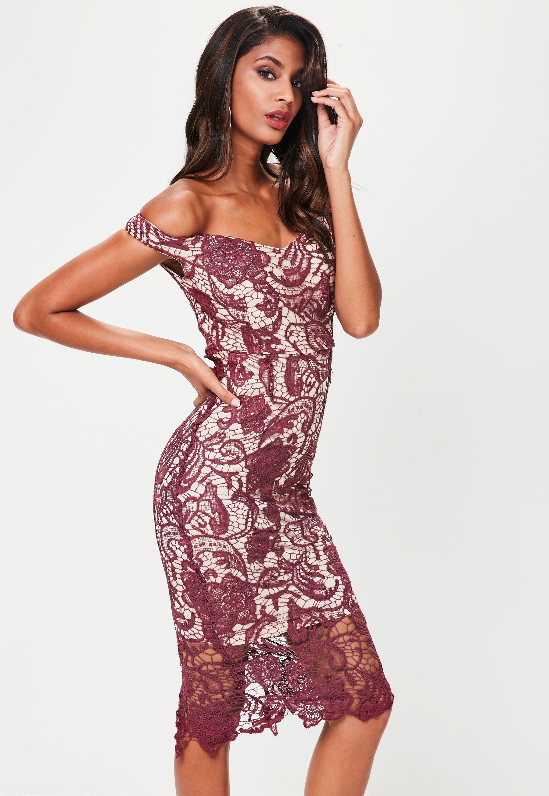 Purple Lace Bardot Mini Dress | Missguided |Beautiful Prom Dresses ...