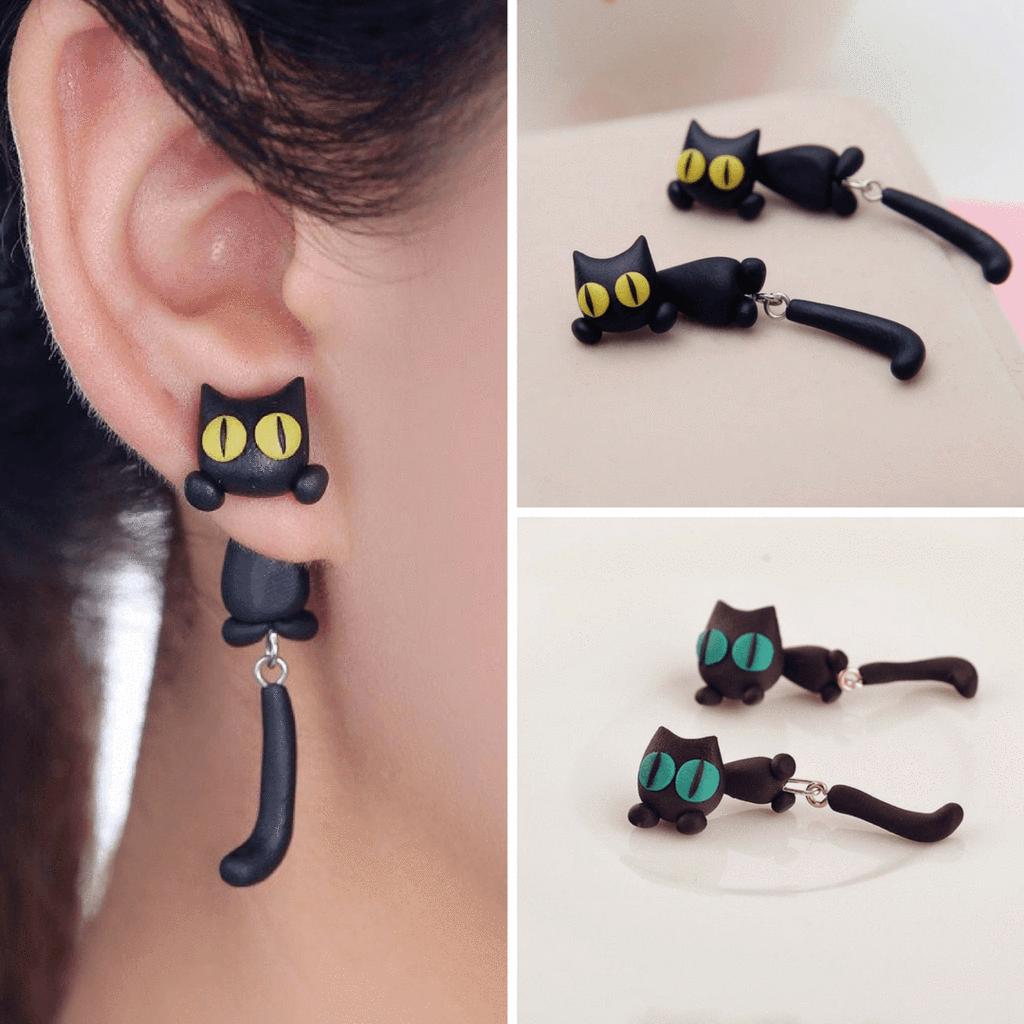 Unique Cat Earrings (Both Pair Green Eyes + Yellow Eyes)