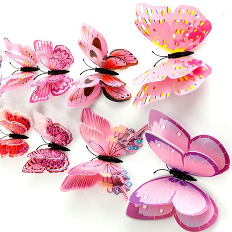 PVC 3D Adesivos de Parede Borboleta Home Decor Adesivos De Parede Borboleta para As Crianças Sala de TV Adesivos de Parede Da Cozinha Adesivo De Parede Crianças flor