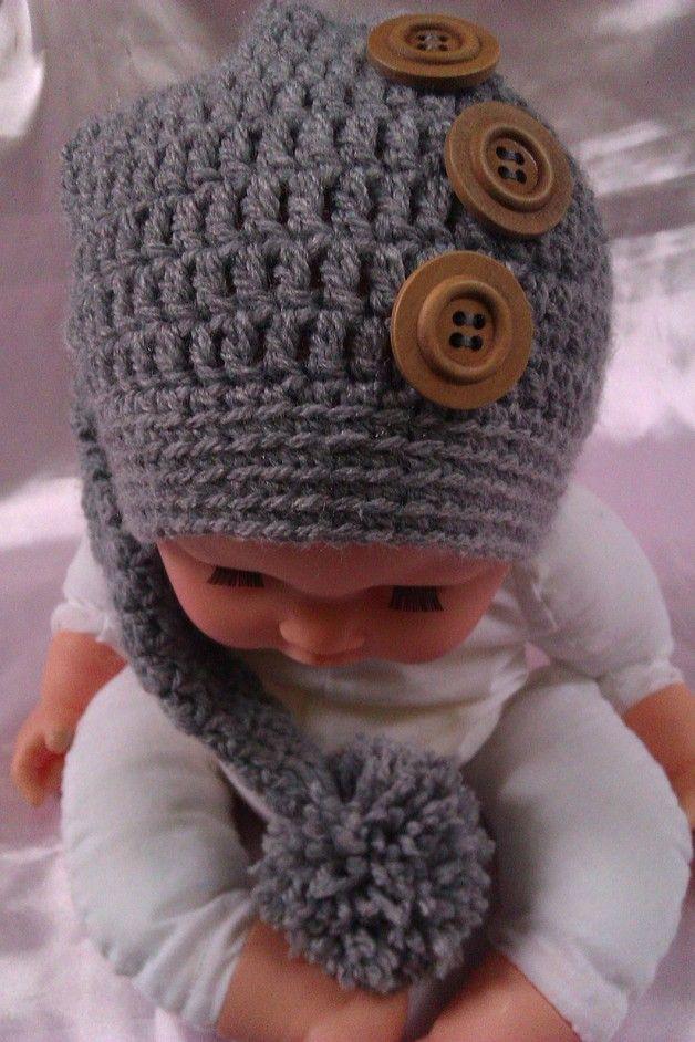 Zipfelmützewichtelmütze Mit Knopf Kleinkind Mütze Kleinkind Mütze