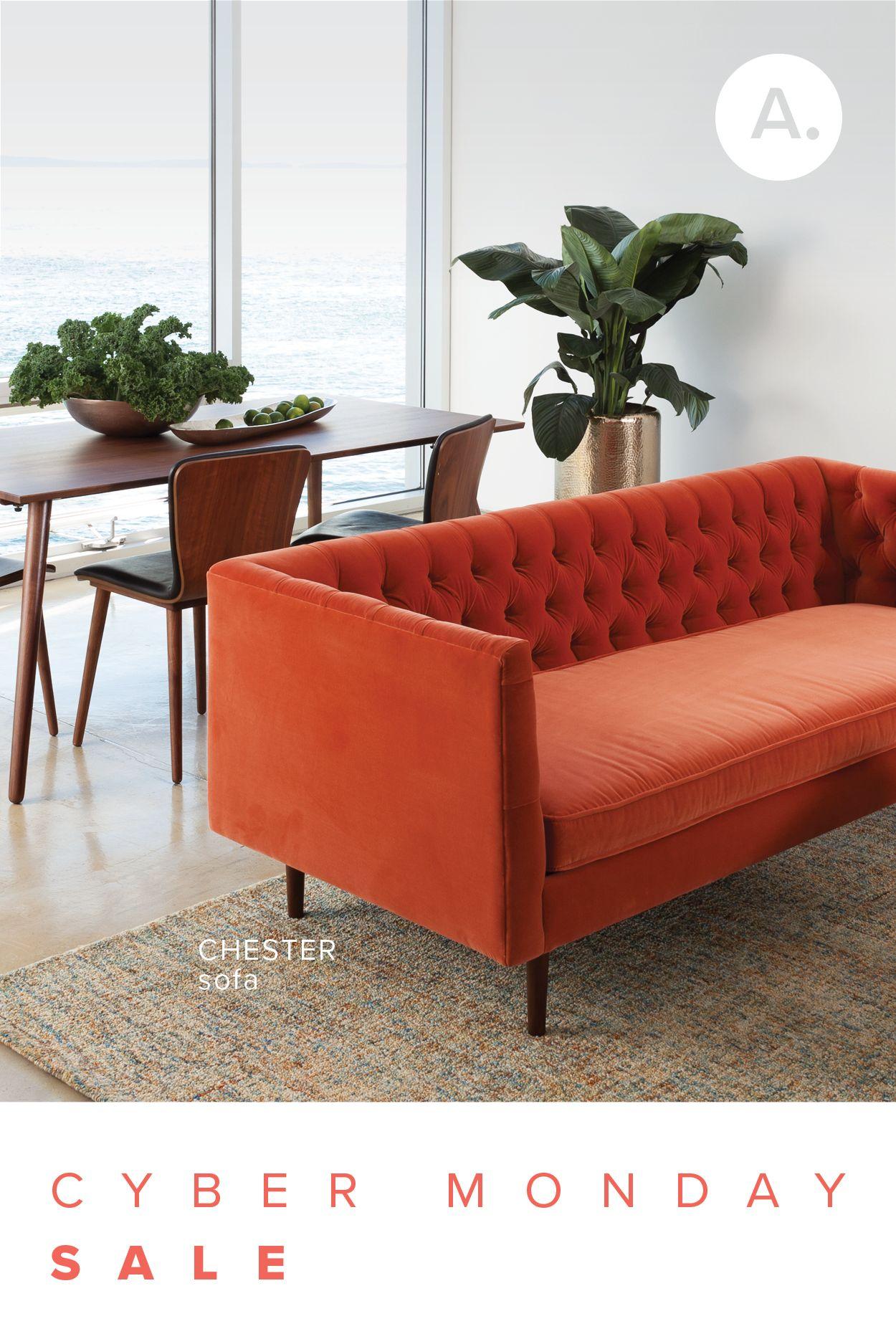Orange Velvet Tufted Sofa Upholstered