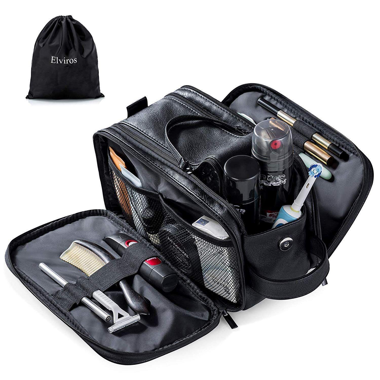 Elviros Toiletry Bag For Men Large Travel Shaving Dopp Kit Toiletry Bag Travel Mens Travel Bag Leather Toiletry Bag