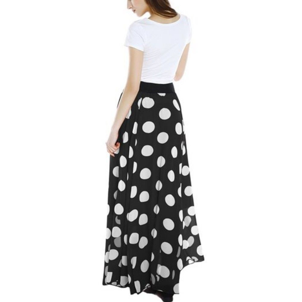 Iefiel black womens chiffon polka dot print high waist summer long