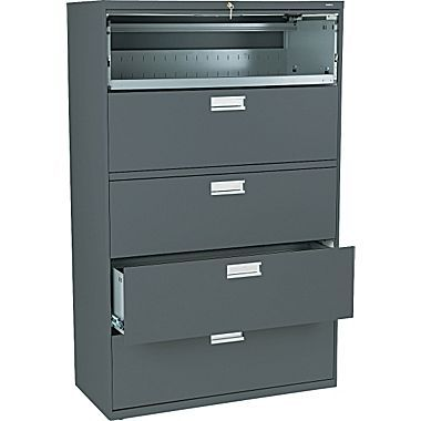 Hon Brigade 600 Series Lateral File Cabinet A4 Legal Letter 5 Drawer Charcoal 19 1 4 D Next2017 At Staples In 2020 Filing Cabinet Lateral File Lateral File Cabinet